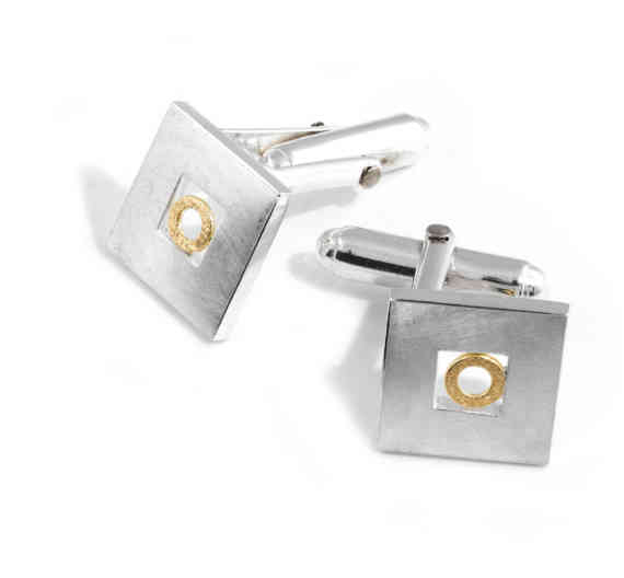 2048 Cufflinks With Gold Circle