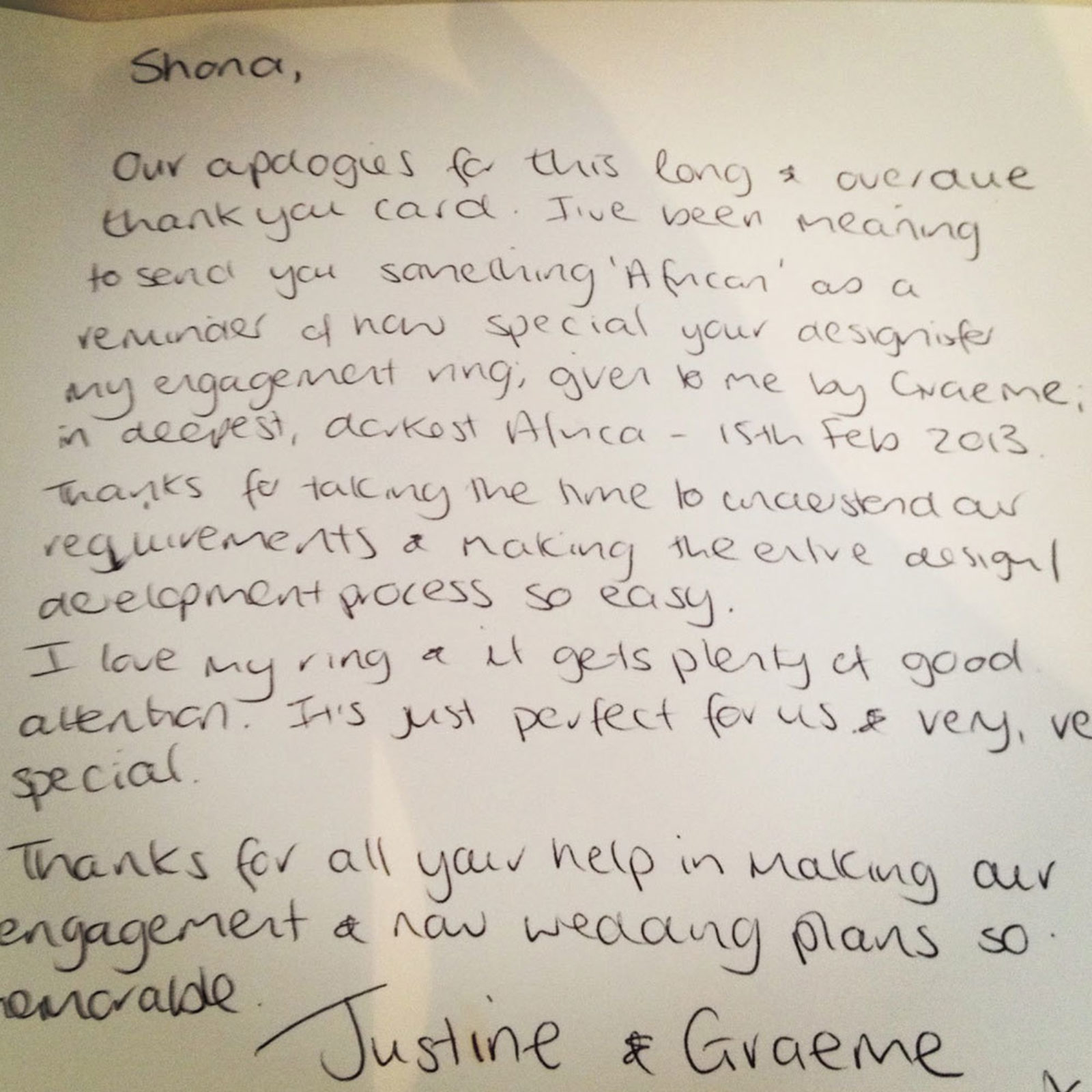 Thank You Letter Justine