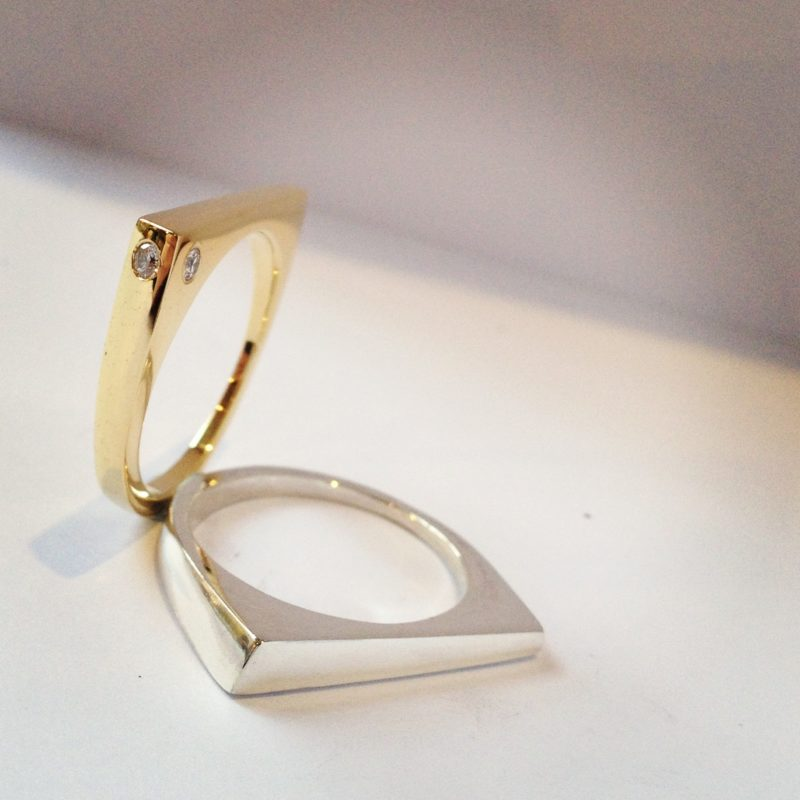 Sculpted rings - yellow gold and silver