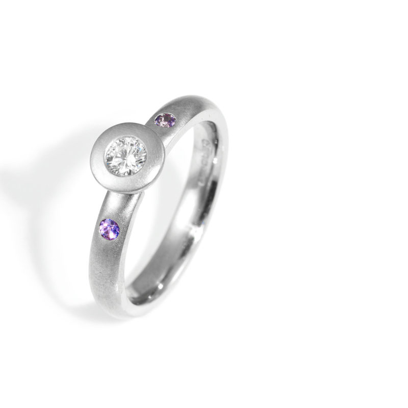 Collet Ring with Purple Sapphires