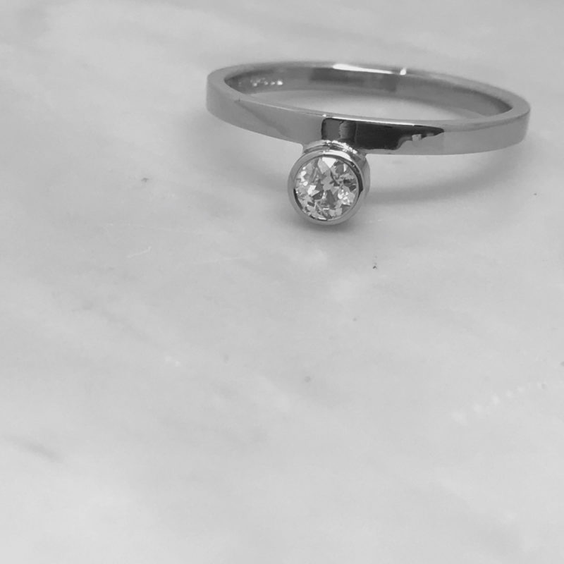 White Gold Offset Diamond Ring