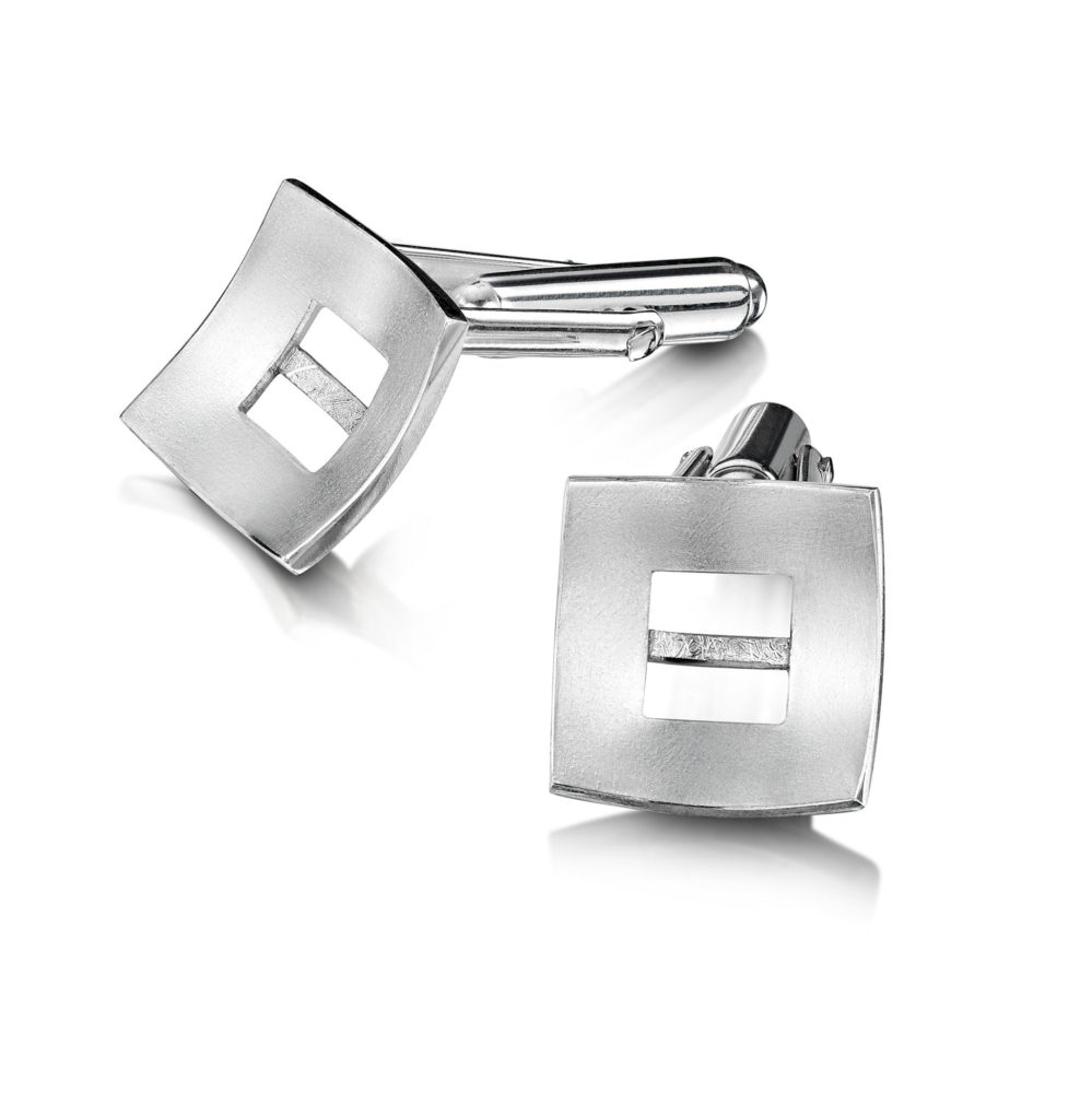 2048 Linear Cufflinks White Gold