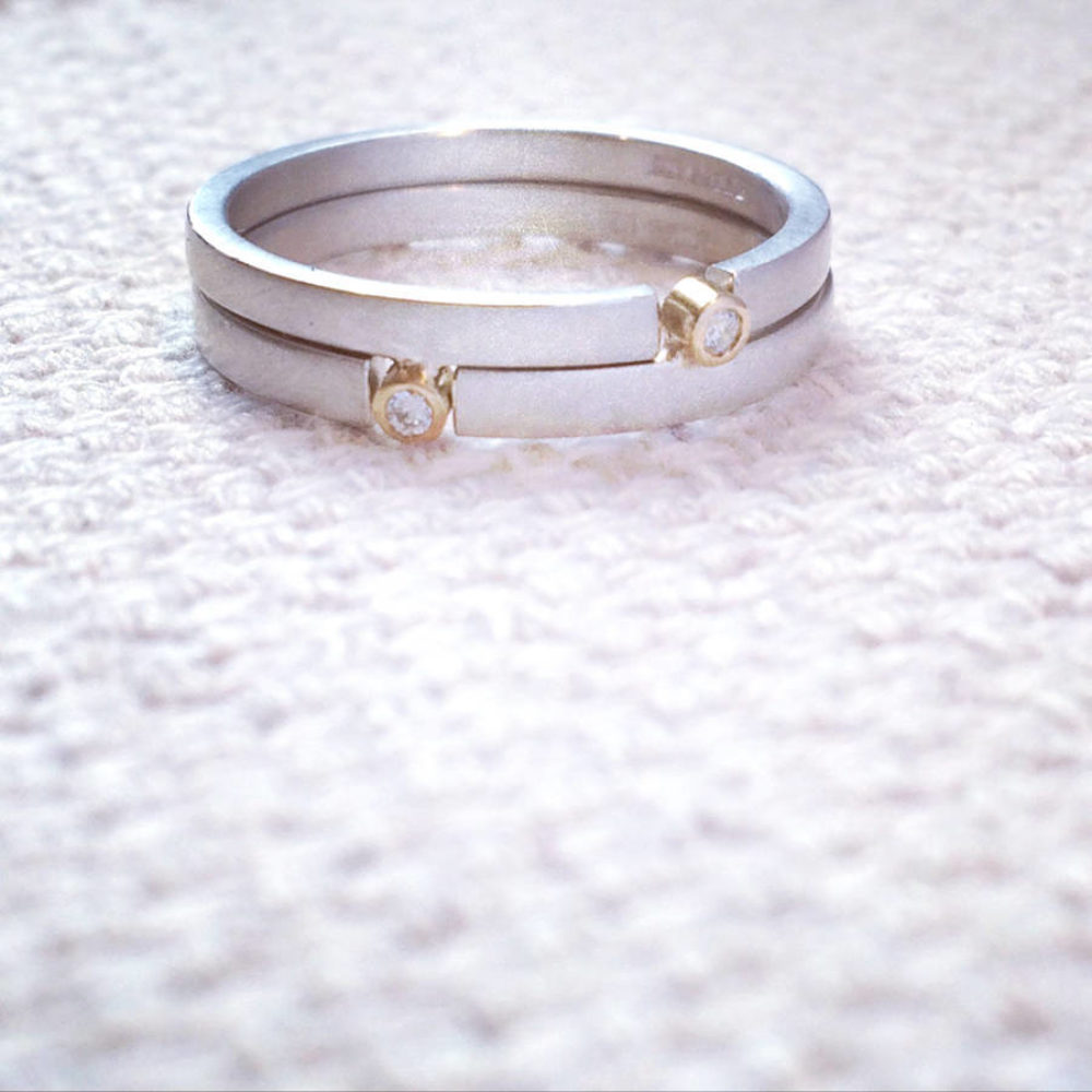 Double Slim Puzzle Ring Supporting