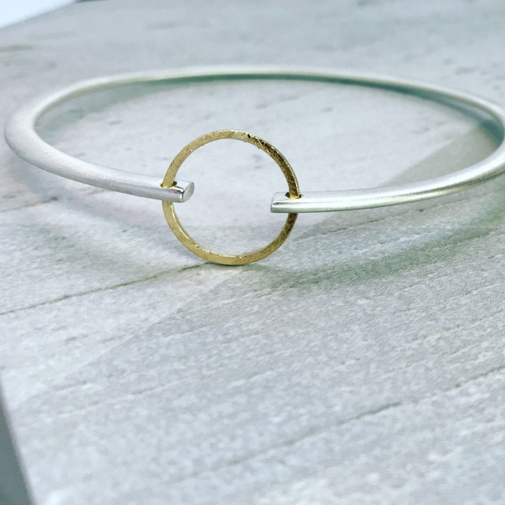 Gold Circle Silver Bangle Sup