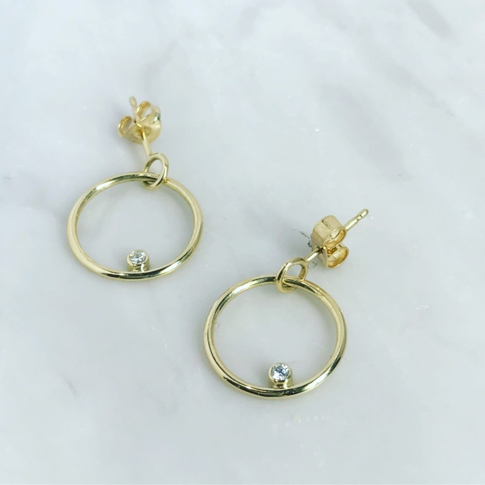 Gold Hoop Diamond Earrings Sup