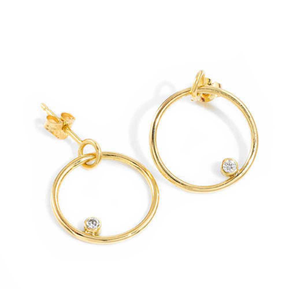 Gold Hoop Diamond Earrings
