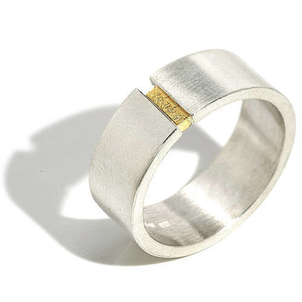 Gold Insert Wide Band Ring
