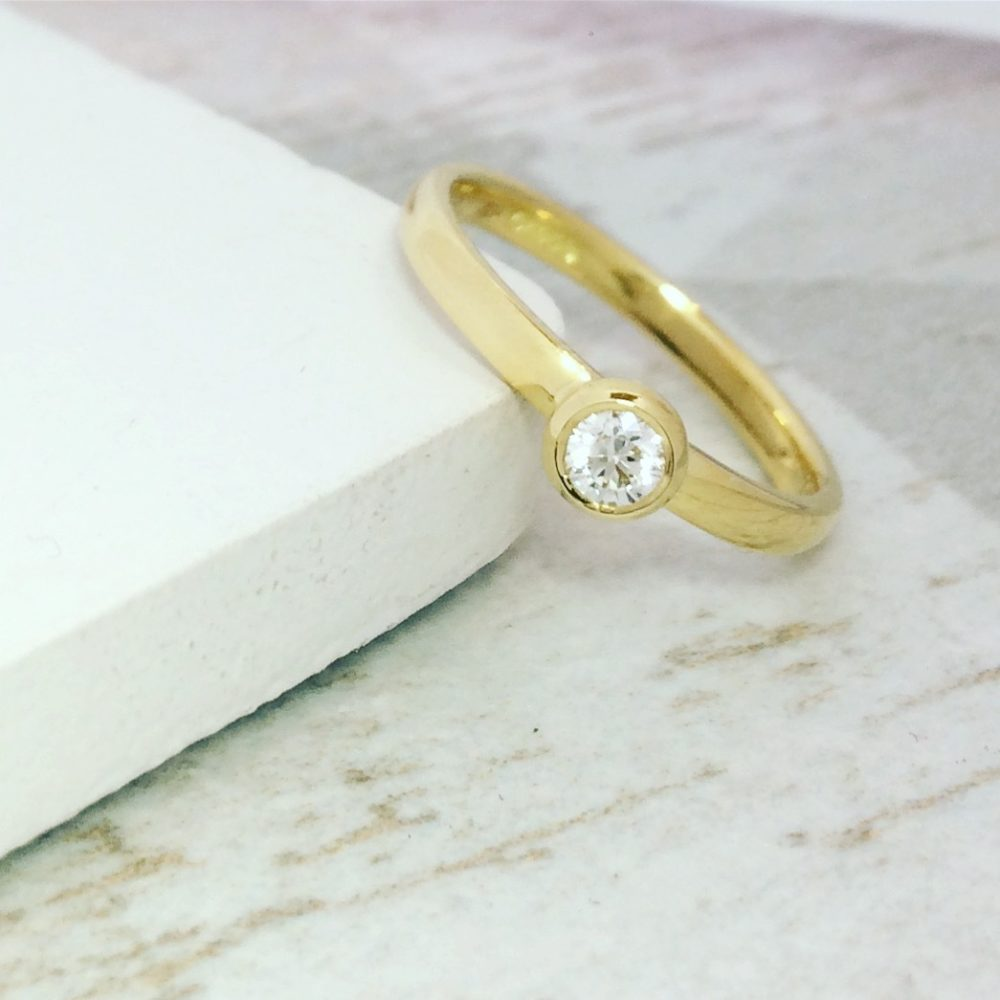 Gold Parallel Engagement Ring