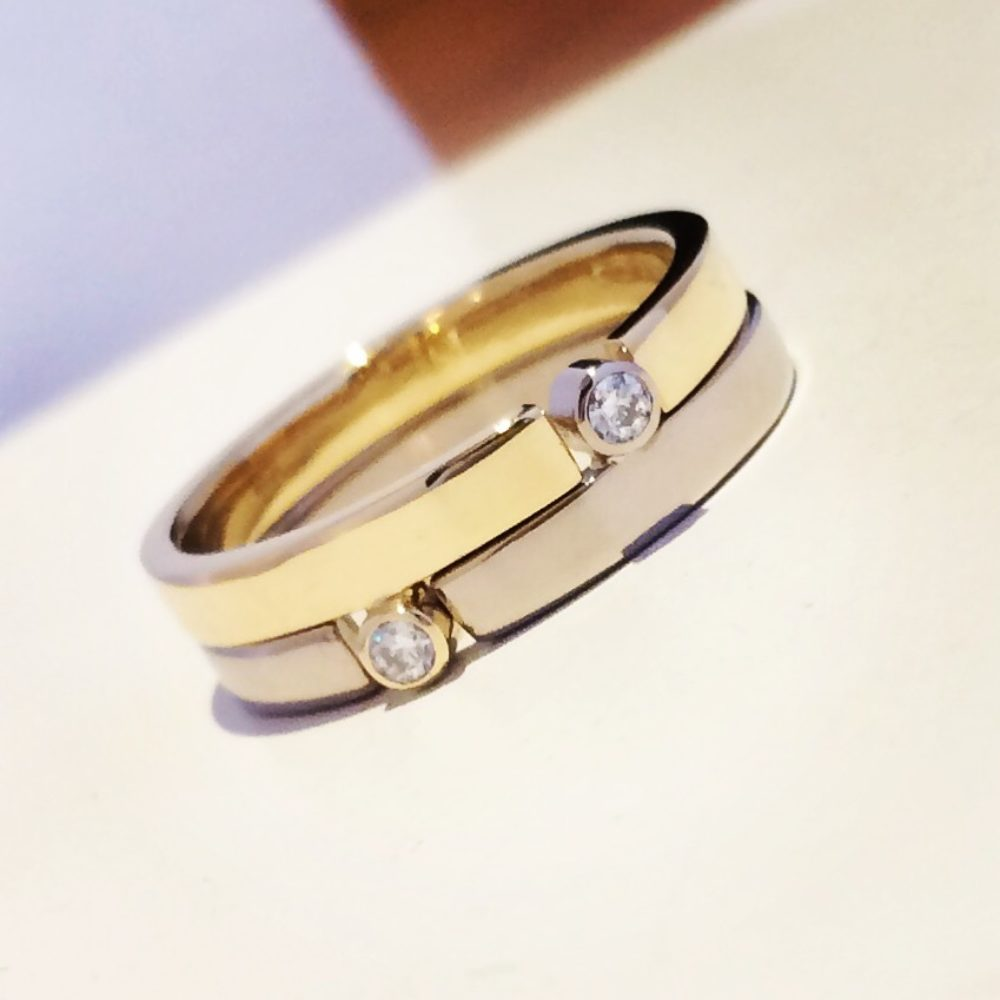 Two Tone Narrow Puzzle Ring Surface