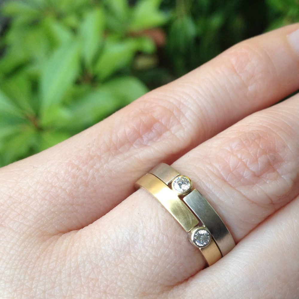 Two Tone Puzzle Ring Modelled
